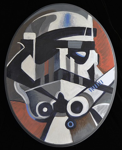 "Stormtrooper 14"" x 11"" Acrylic on Wood Oval"
