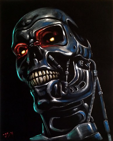 Velvet painting of Terminator robot head