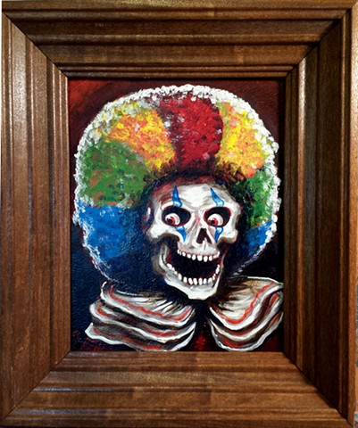 Creepy Skeleton Clown with a Rainbow Afro Wig Painting