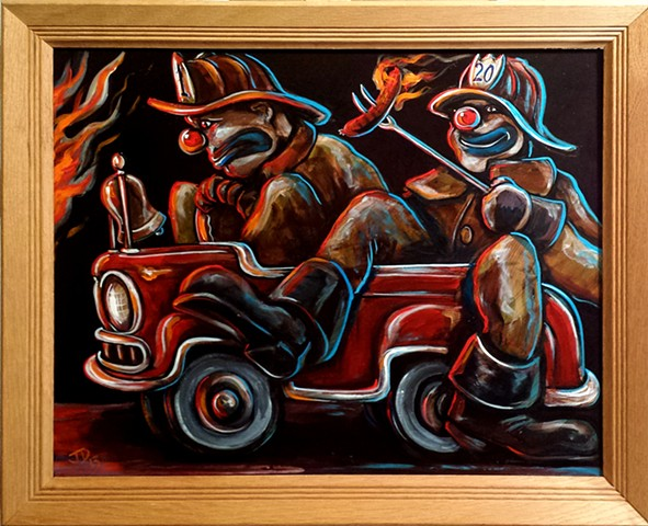 Painting of two fire fighter clowns in a tiny fire engine