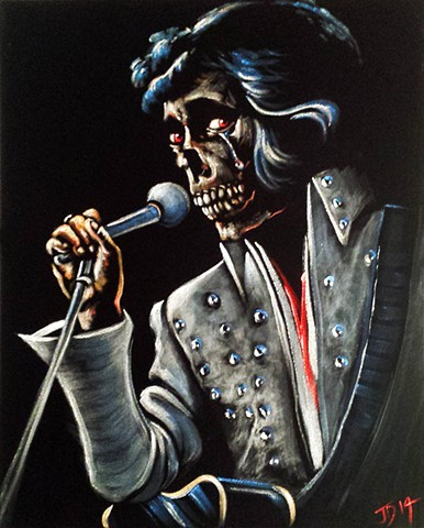 Velvet painting of Skull Elvis...skullvis