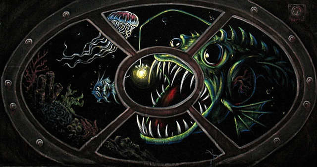 Angler Fish, Backdrop, Black Velvet, Halloween, Painting