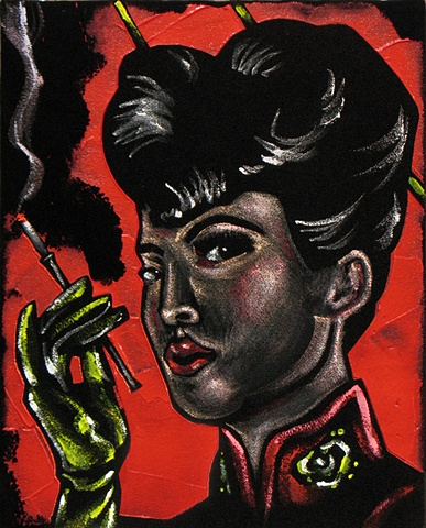 Black Velvet Painting of a Sinister looking asian woman smoking a cigarette in a holder.