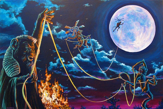 a painting of Several Monkeys who judge the distance to the moon in an unconventional way