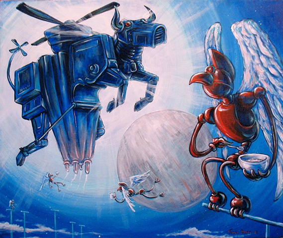 Birdman Robot eats cereal and a Robotic Flying Cow floats in the distance