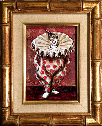 Painting of a polka dotted clown with giant frilly collar
