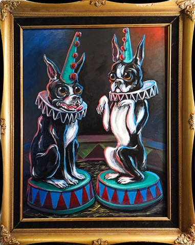 Painting of two boston terrier clown dogs at a circus