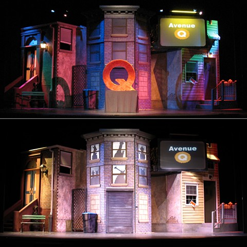 Set Design of Avenue Q for Dominion Stage with two lighting effects
