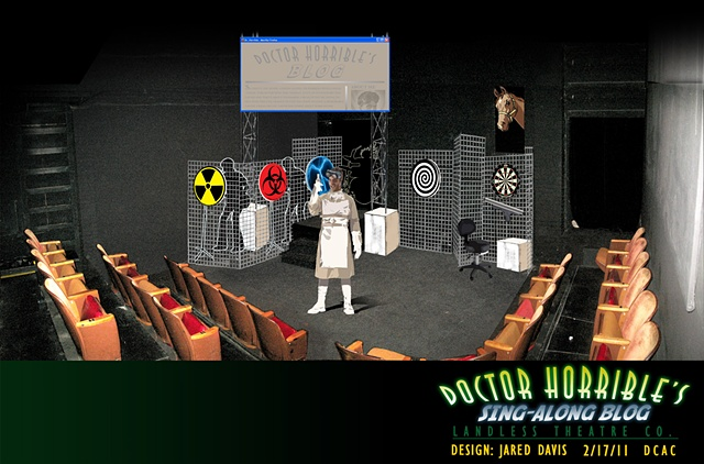 Set Design Perspective rendering of Doctor Horribles Sing Along Blog at the DCAC