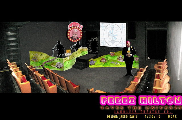 Set design Perspective rendering of Perez Hilton Saves the Universe at the DCAC for Landless theatre Company
