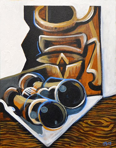 Cubist Tiki Still Life with Binoculars