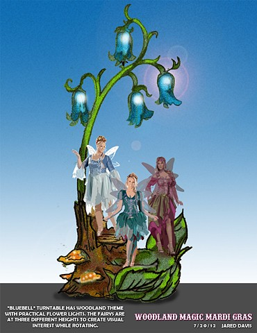 A turntable with three fairies on a bluebell tree stump for the DC mardi gras