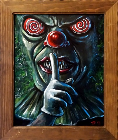 "Painting of a creepy clown putting his finger to his lips as if to say ""shhhhh"""
