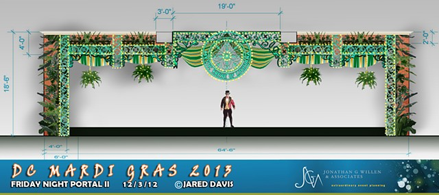 Set design of a mardi gras theme portal