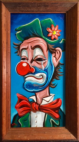 Painting of a Crying Evil Hobo Clown