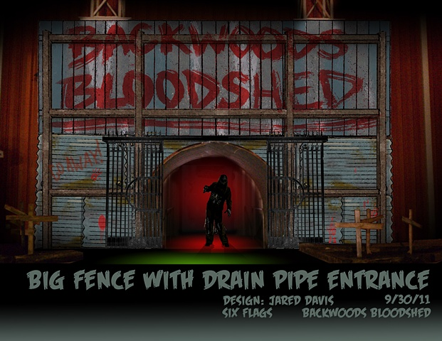 "A Set Design rendering of a large spooky fence with a blood painted sign that says ""backwoods bloodshed"""