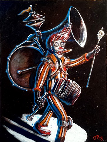 Paininting of a one-man-band clown in a spotlight
