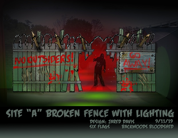 "A Set Design rendering of a spooky fence with a hole in it and a blood painted sign that says ""no outsiders"""