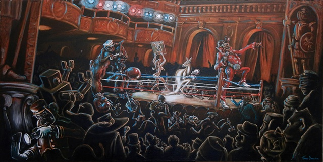 Monkeys boxing in a ballroom or theater, in various states of dress, one is dressed as Elvis
