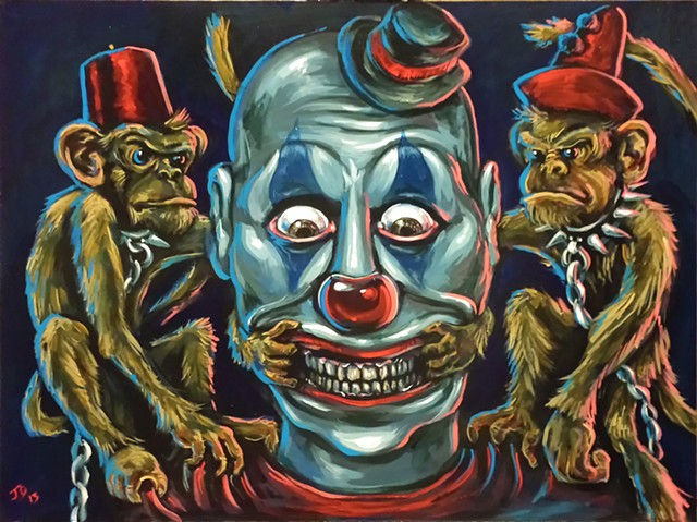 Painting of a creepy clown with two monkeys making him smile