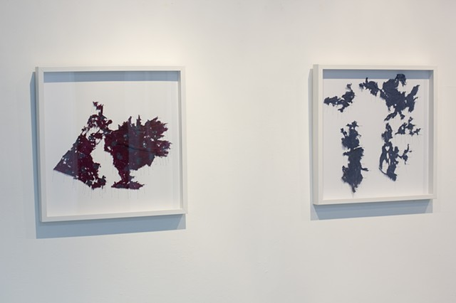 Watershed Cloth, install (left to right: Tijuana Watershed Burgundy; Pueblo Watershed, Navy)