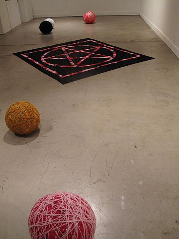 Yarn Balls and Pentagram Quilt, Installation View