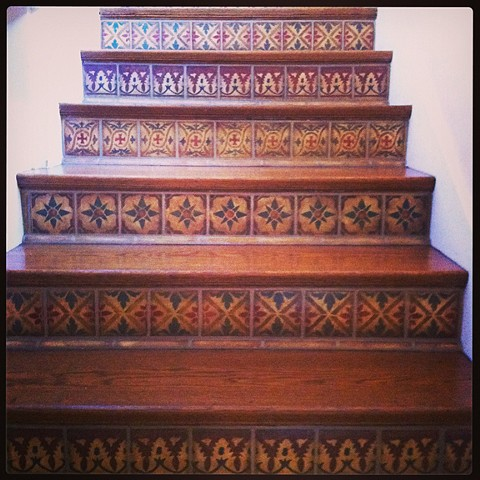 Early-Spanish-style-historically-handpainted-stairs-with-tiles-on-plaster