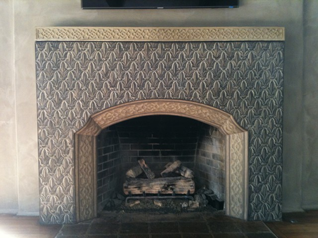 Completed Moroccan Inspired Tiles Painted On Plaster Fireplace