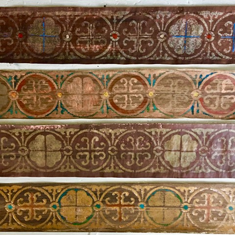 Decorative stenciling samples with different color ways to be applied hacienda living room ceiling beams