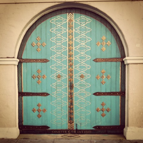 Historic Door painted  Versace Spanish  that was located at the base of State Street and Mason in Santa Barbara California & Colette Cosentino: Decorative Artist u0026 Muralist
