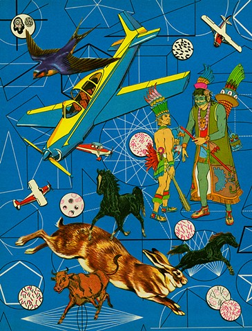 collage aztecs planes hares horses swallow geometry bacteria