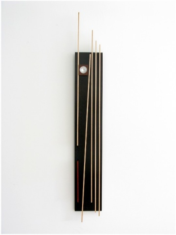 Unique sculptural wall art of Jatoba, Maple, Cardinal Wood and anodized aluminum
