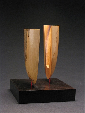 Dance With Me is a conceptual sculpture of spalted Magnolia and ebonized Walnut