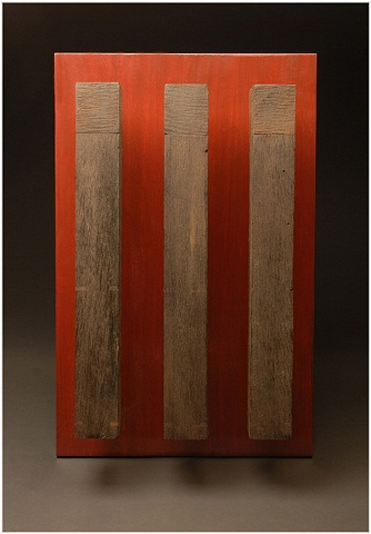 Unique sculptural wall art of distressed ebonized Walnut, Mahogany, and Anodized Aluminum