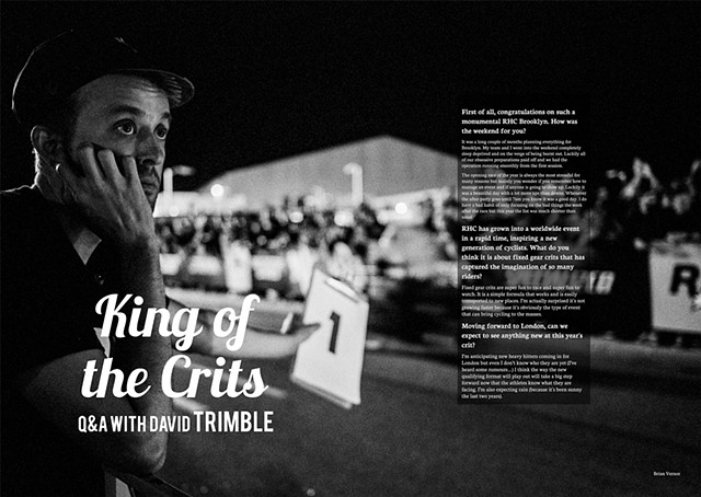 Spread for The DomestiqueCC story on Red Hook Crit founder David Trimble.