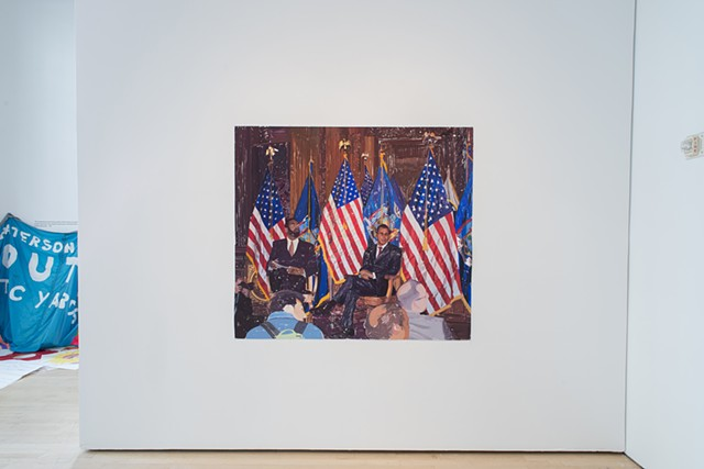 Governor and Flags, (Gouache on paper, 56.5 X 63 inches, 2014). Photo: Sam Drexler