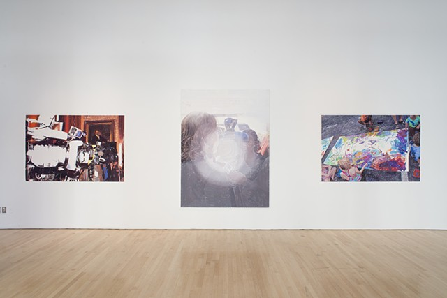 From left to right: Camera Bank for the Governor (gouache on paper, 48 X 72 inches, 2012), Elected Officials are Our Surrogates, (Oil on linen, 84 X 63 inches, 2010), Summer Streets, (Gouache on paper, 48 X 72 inches, 2017).  Photo: Sam Drexler
