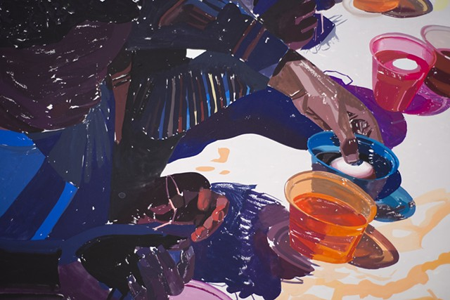 Egg Painting, (Gouache on paper, 65 X 84 inches, 2015).  Photo: Sam Drexler