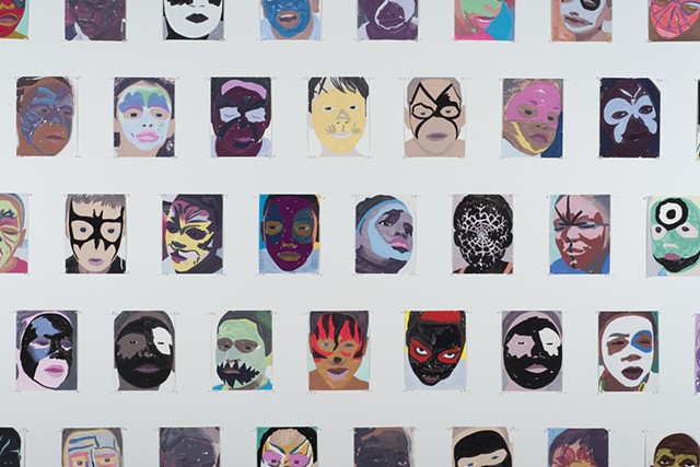 Block Party (Face Painting); (Gouache on paper, 10 1/4 X 7 3/4 inches each, 2012 to the present). Photo: Sam Drexler