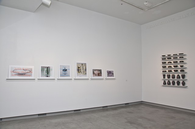 Images of Silver Objects and Chapter 38, installation view at the ICA at Maine College of Art