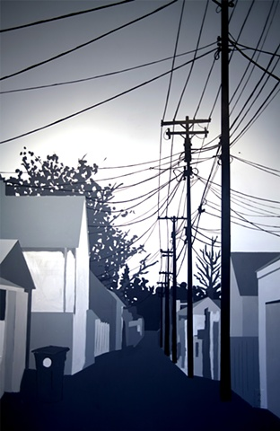 Telephone Wires and Alley Way Black and White Mural