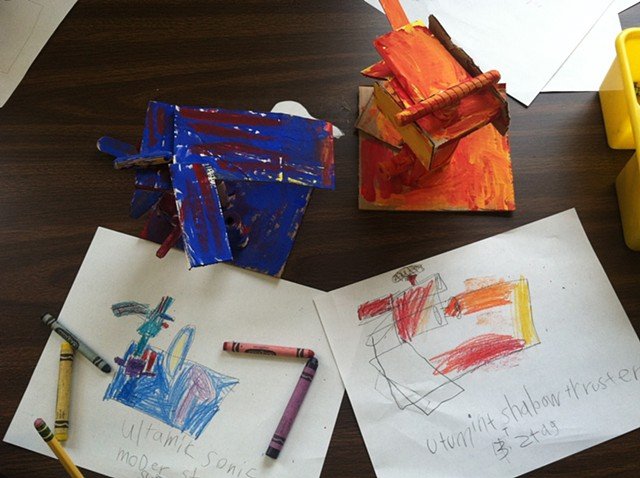 Wood Sculpture and Color Mixing, 2nd grade