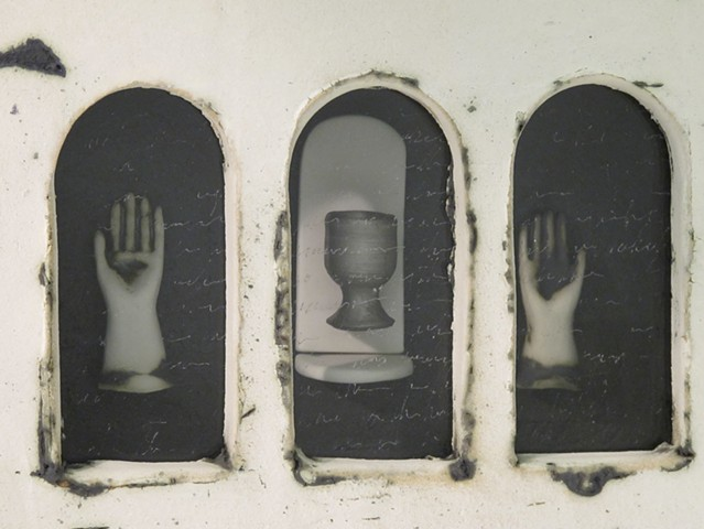 Reliquary with Porcelain Hands and Platinum Lustred Cup
