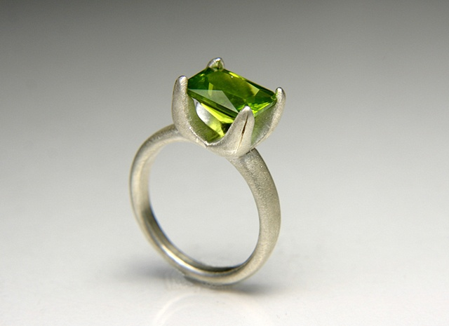 Allison Ring in Silver with Acid Green Emerald Cut Peridot
