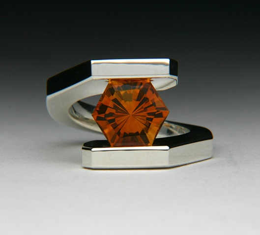 Tension Set Bi-Pass Ring with 11mm custom cut Citrine