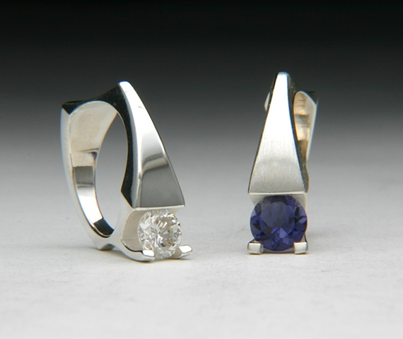 silver, diamond, iolite, white, blue