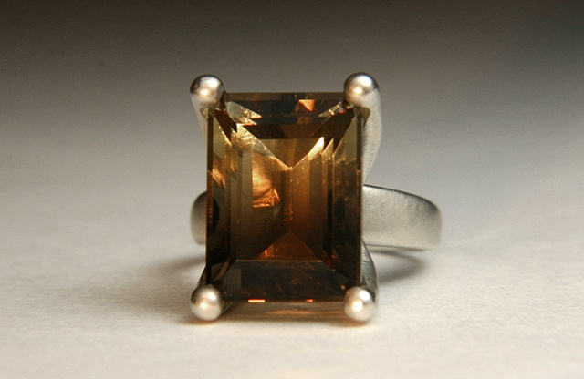 Annie Ring in Silver with Bicolor Citrine and Smoky Quartz