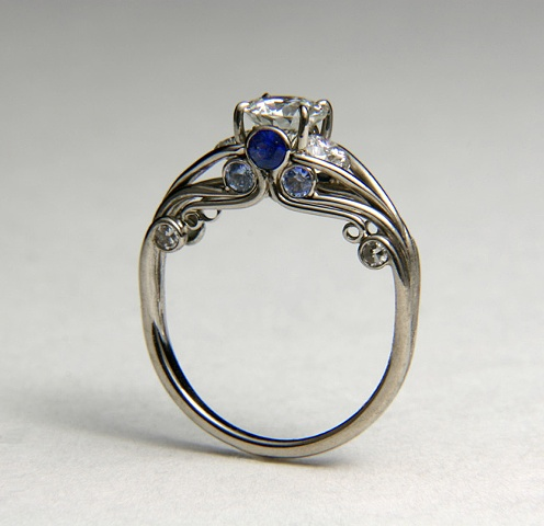 18kt White Gold Pallidum sapphires and diamonds