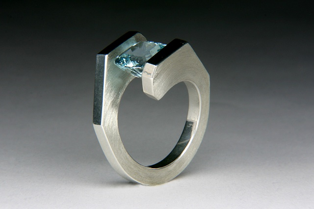 Tension set aquamarine, silver, jewels curnow