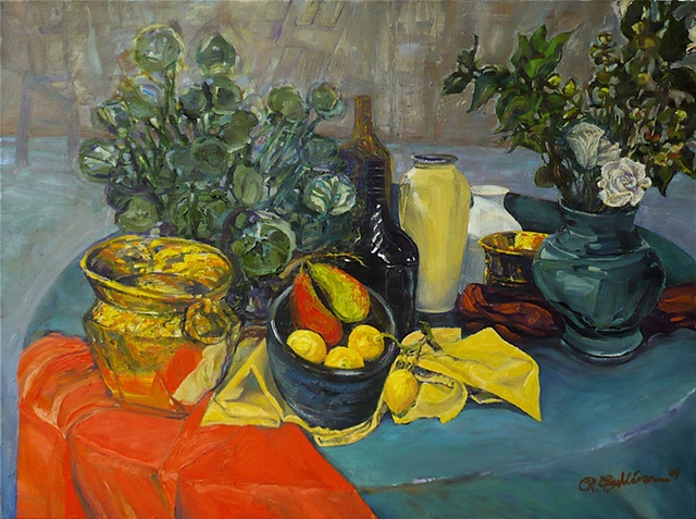 Studio still life with lemons, pears and roses